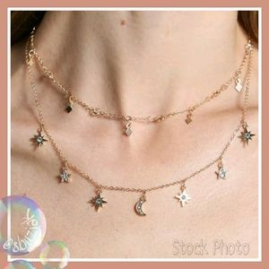 Jewelry - Delicate Crystal Moon and Stars Layered Necklace